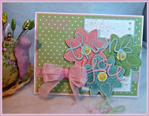 "Stampin' Up!  PPA243, Petal Potpourri, Build A Bouquet, Flower Medallion Punch, 1/2"" Circle Punch, Versamark, Iridescent Ice embossing powder, Pink Pirouette 1/2"" Seam Binding ribbon"