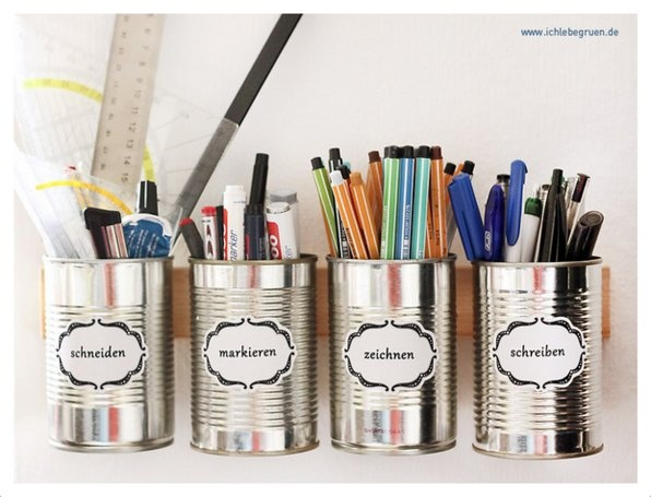 Aus alten Dosen ein schönes System für Stifte zum Aufhängen - DIY - selber machen