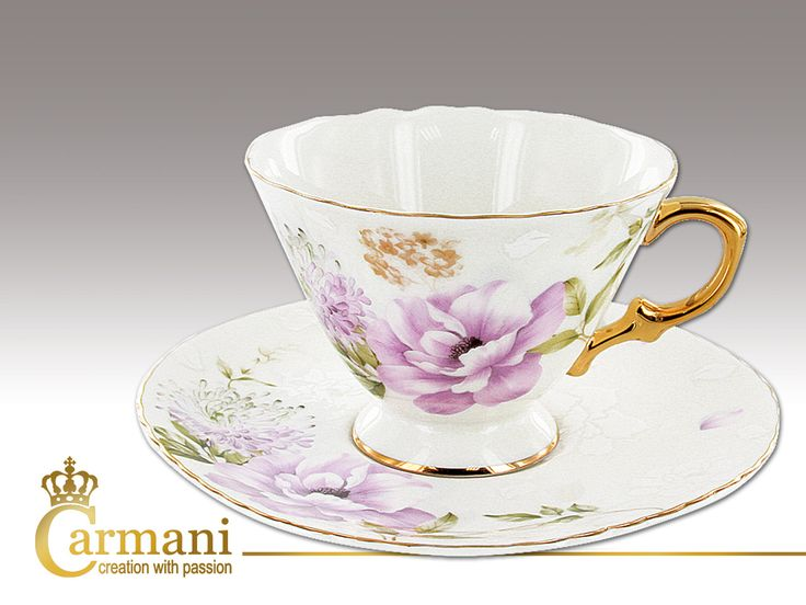 Filiżanka Carmani - Fioletowe kwiaty