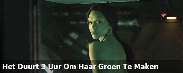 Timelapse: Het duurt 3 uur om Gamora uit Guardians Of The Galaxy helemaal groen te maken.