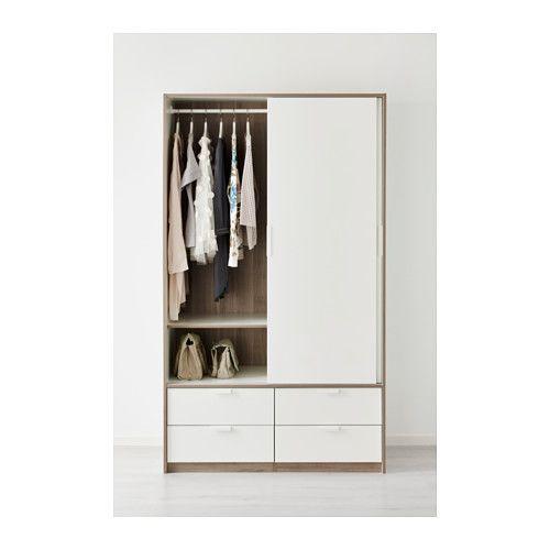 TRYSIL Garderob med skjutdörrar/4 lådor, vit vit 118x61x202 cm
