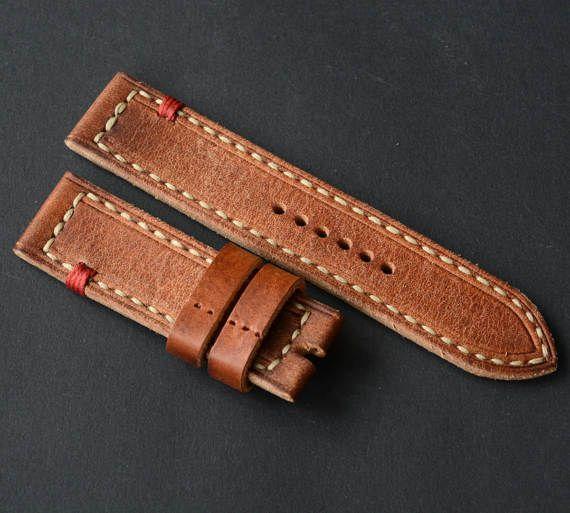 24x24mm Orange Vintage Genuine Leather Watch Strap Panerai Style