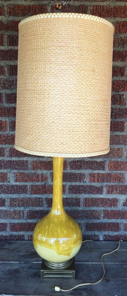 Vintage Large Drip Glaze Yellow Ceramic Table Lamp Mid Century Modern Retro 60s Ceramic Table Lamps Table Lamp Yellow Ceramics