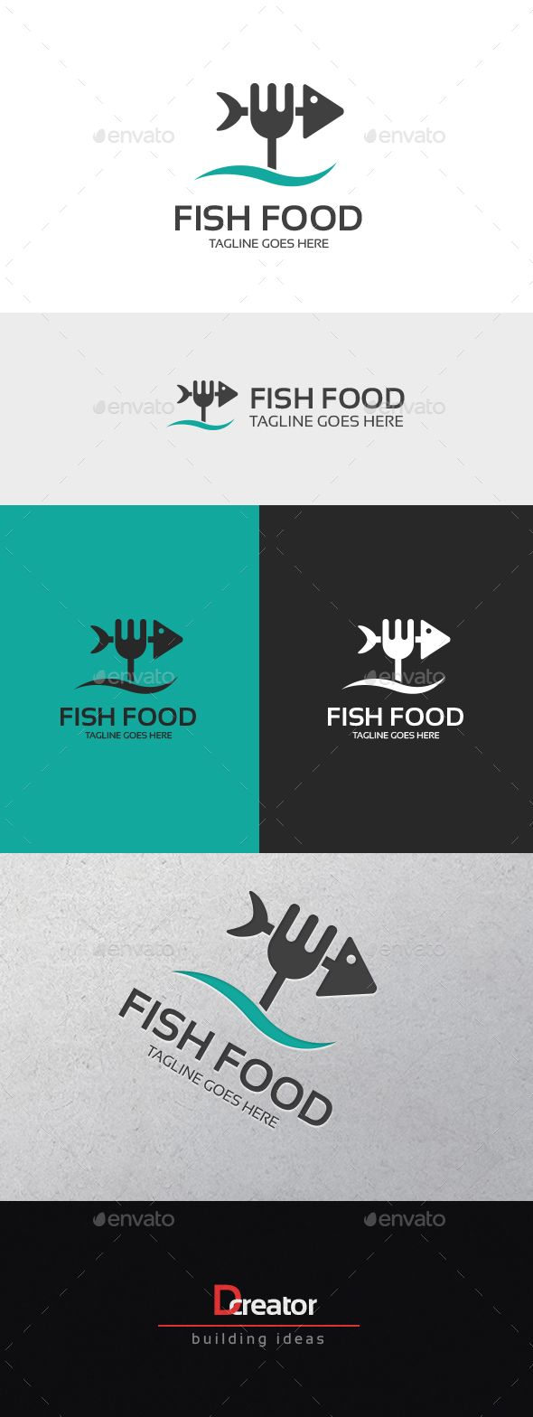 Fish Food Logo — Transparent PNG #health #Restaurant logo • Available here → https://graphicriver.net/item/fish-food-logo/16837831?ref=pxcr