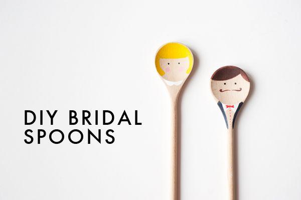 DIY Bride & Groom spoons!  Cute to tie on a kitchen shower gift!: Bridal Wooden, Wedding, Diy Bridal Spoons, Cute Ideas, Wedding, Spoon Favors, Bride, Wooden Spoons Diy, Craft Ideas