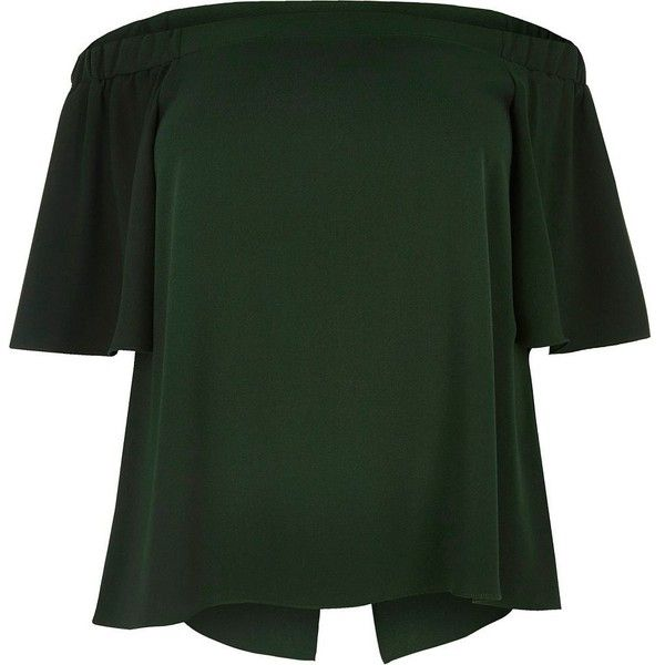 River Island RI Plus green bardot top ($33) ❤ liked on Polyvore featuring tops, green, plus size tops, ruffle top, flounce top, plus size short sleeve tops and green ruffle top