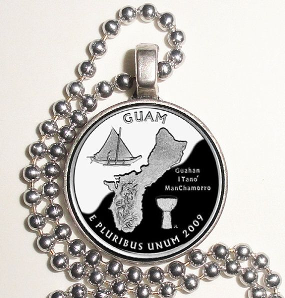 Guam Art Pendant, Earrings and/or Keychain, USA Quarter Dollar Image, Round Photo Silver and Resin Charm Jewelry