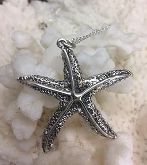 Gorgeous Sterling Silver Starfish Pendant Necklace-Reproduction Unknown Era