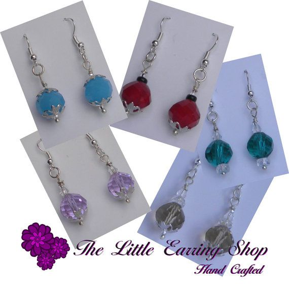 14mm Faceted Crystal Drop Cocktail Earrings 5 Colours to Choose from