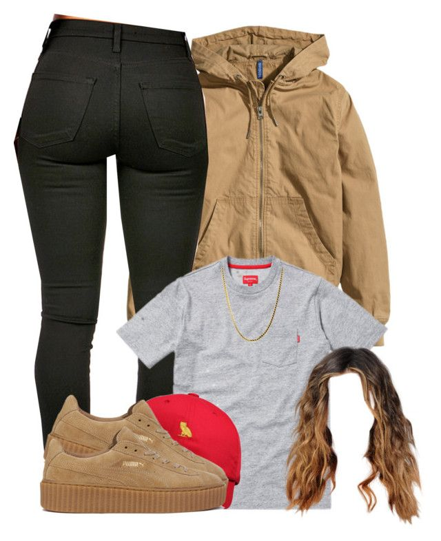 A fashion look from January 2016 featuring H&M jackets, Puma sneakers and  October's Very Own hats.