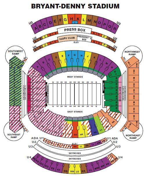 Bryant Denny Seating Chart Stadium Alabama Football