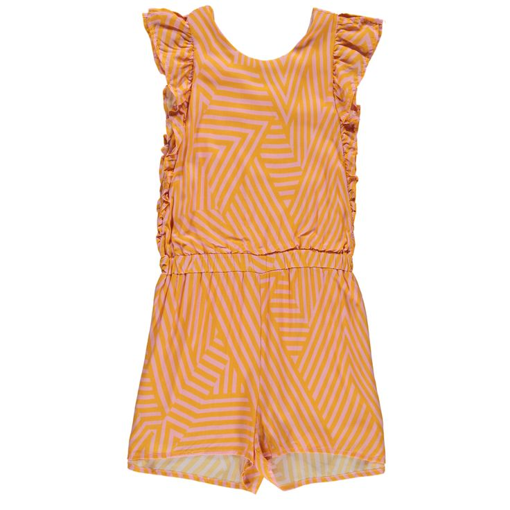 Coral Ruffled Stripe Playsuit - Indee