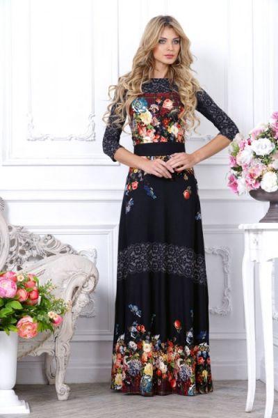 Трикотажное макси-платье черного цвета с красивым цветочным узором купить недорого в интернет магазине женской одежды City-moda