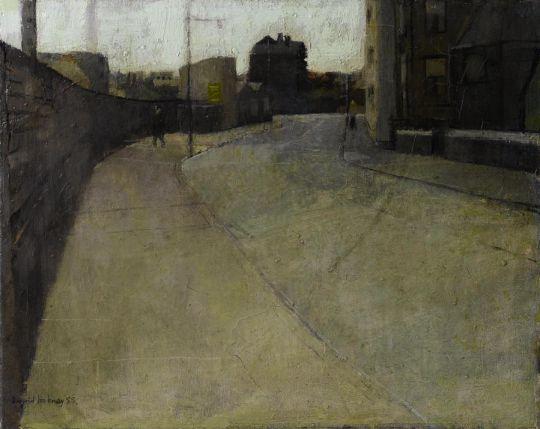David Hockney (British, b. 1937), Bradford street scene, 1955. Oil on canvas.  Thunderstruck