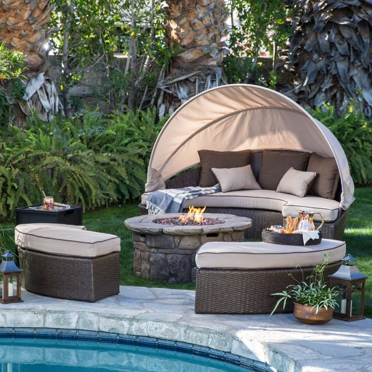 Outdoor Belham Living Rendezvous All Weather Wicker Fire Pit Sectional Daybed Conversation Set - TTLC596