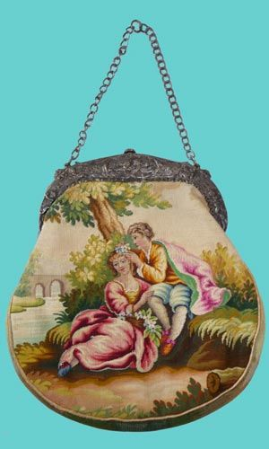 Victorian tapestry handbag with courtship scene on one side and bridge scene on the other.