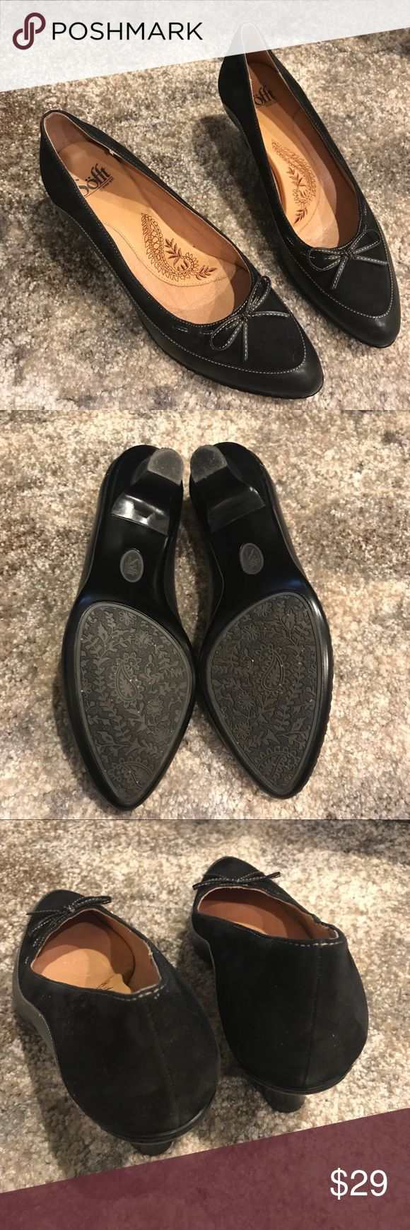 Sofft Heels w Bow and Stitching Black Size 9.5 Gently used. Nice condition with a few marks as seen in pics but hard to see while wearing. Footbed and bottoms are nice. True to Size. Cute classic comfortable heeled shoe by Sofft. Sofft Shoes Heels