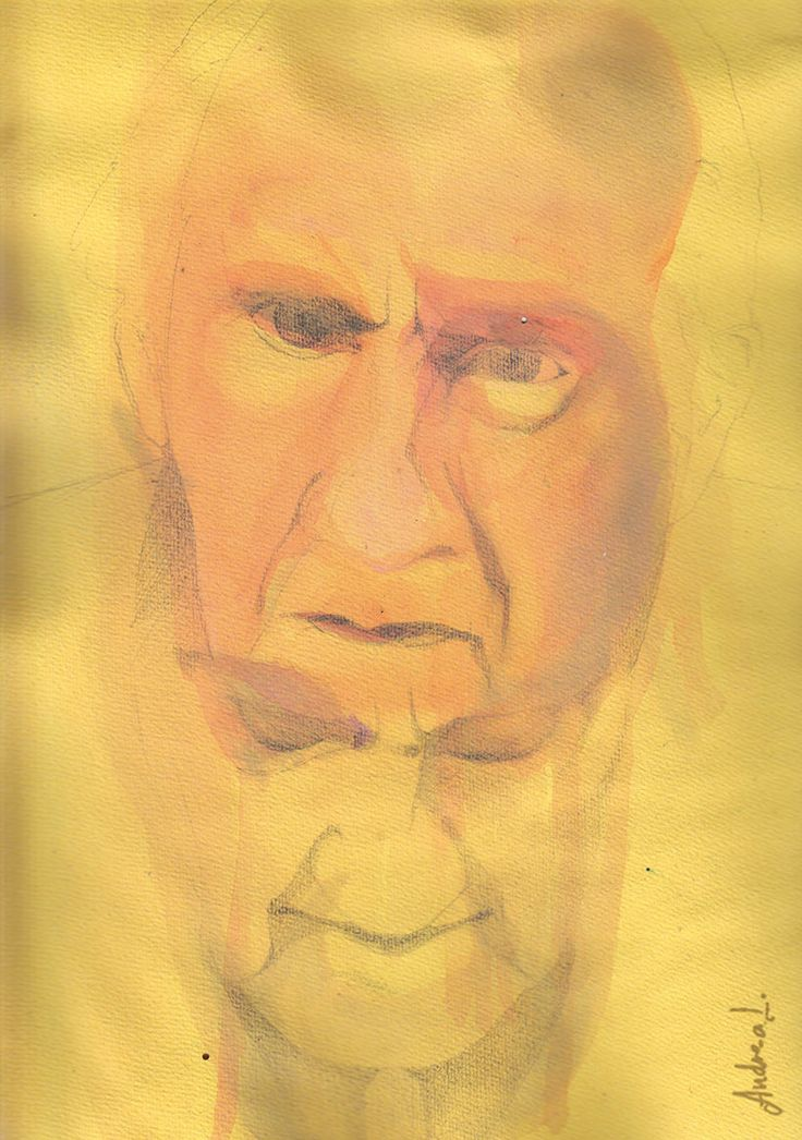 "Badiou - watercolor 2011. From the series: ""philosophical discourses"""