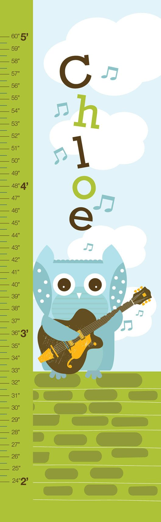 27 best growth charts for kids images on pinterest growth charts personalized owl growth chart on canvas singing owl by urbantickle for music nursery nvjuhfo Gallery
