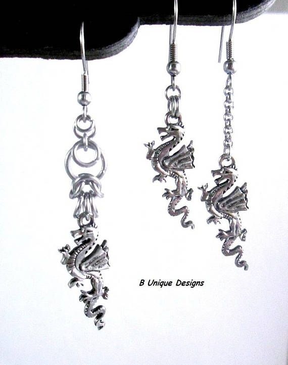 chair earrings. dragon earrings short or long chains chainmail jewelry stainless steel rolo chain game of thrones slayer rider fantasy chair w