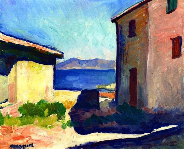 House at Saint-Tropez Albert Marquet - 1905. Albert Marquet was a French painter, associated with the Fauvist movement. He initially became one of the Fauve painters and a lifelong friend of Henri Matisse.