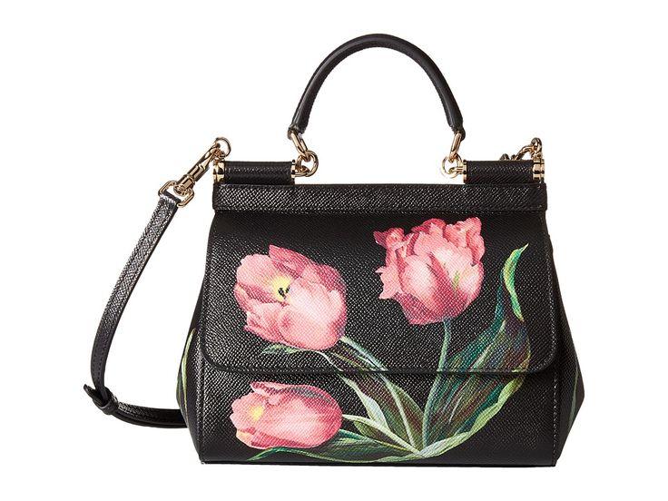 Image of Dolce & Gabbana - Tulip Print Sicily Bag (Tulipani Rosa F. Nero) Bags
