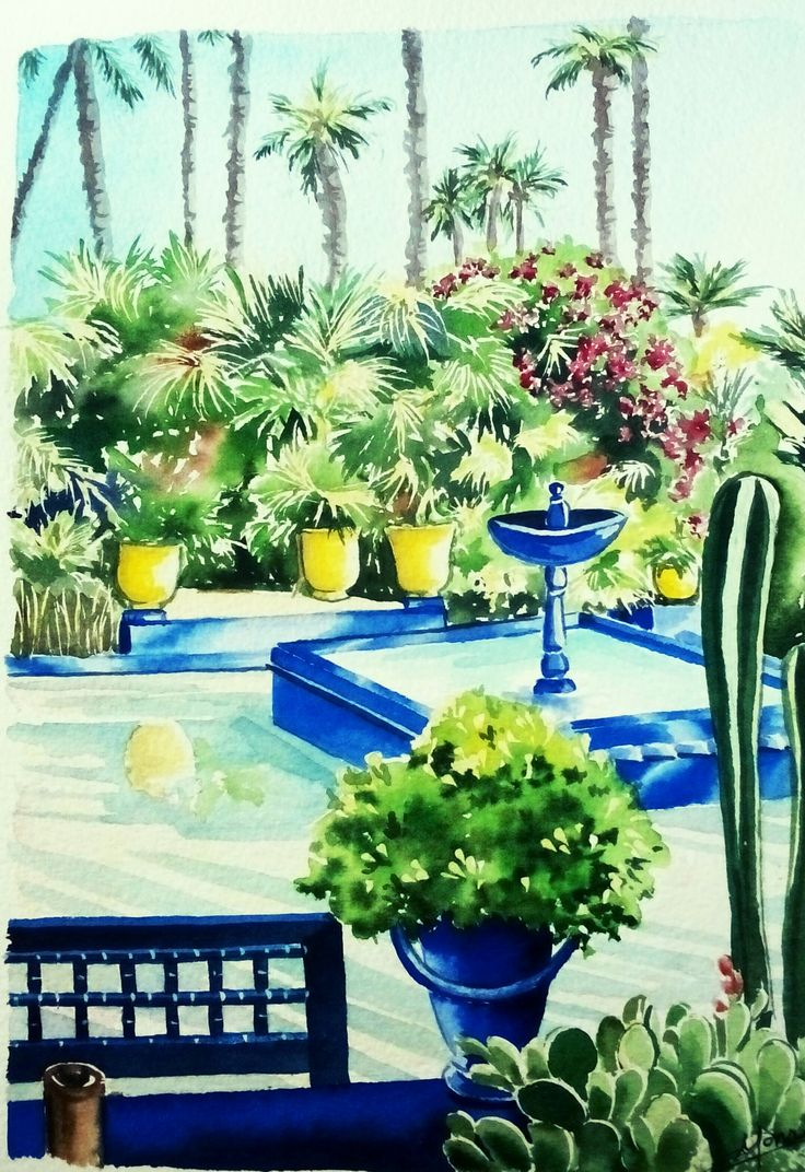 les jardins de majorelle marrakech aquarelle christine monsion peinture christine monsion. Black Bedroom Furniture Sets. Home Design Ideas