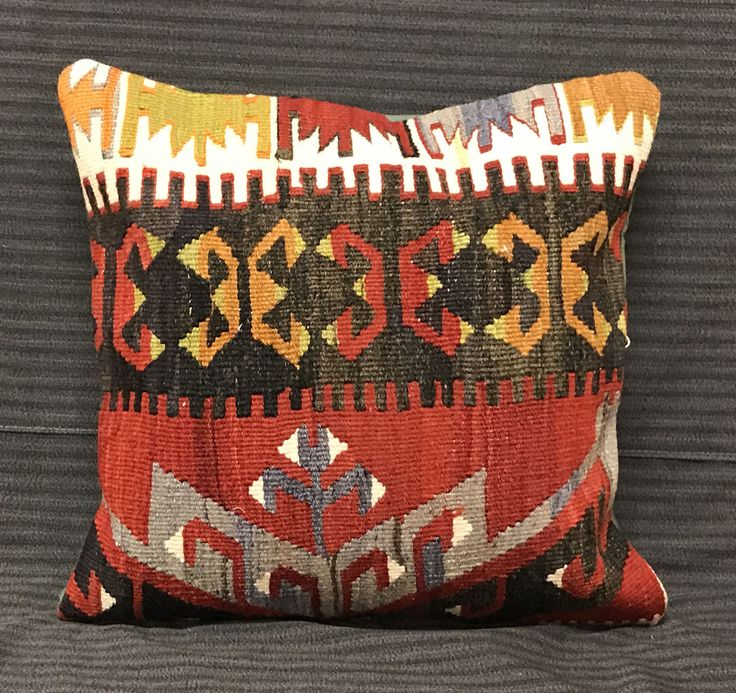 Turkish Bohemian Pillow Handmade Pillow Cover Traditional Pillow Kilim Pillow Vintage Pillow Boho Pillows Rug Pillows Cover Turkish Bedding by TurkishBohoChic on Etsy