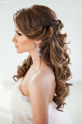 half up half down curled wedding hair ~  we ❤ this! moncheribridals.com