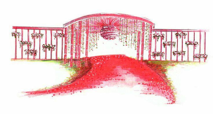 A sketch by Yuna Weddings for wedding venue entrance