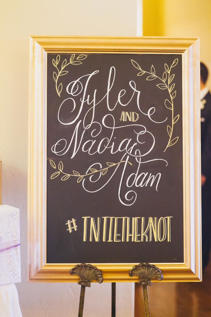 Putting Your Wedding Hashtag On a Welcome Sign | 20 Creative Ways to Display Your Wedding Hashtag | https://www.theknot.com/content/ways-to-display-wedding-hashtag