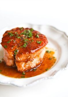 Salmon with 5-minute Magical Butter Sauce. Just microwave: butter + your favorite fruit jam + balsamic vinegar. It's so elegant, your guests would never imagine this sauce is microwaved and so easy!