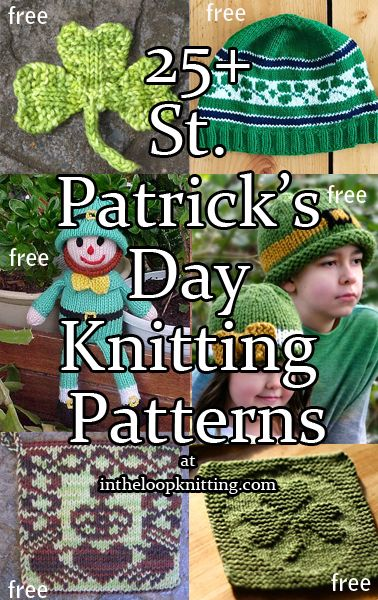 St. Patrick's Day Knitting Patterns including shamrocks, leprechauns, celtic cross motifs on hats, wash cloths, shawls and more. Most patterns are free