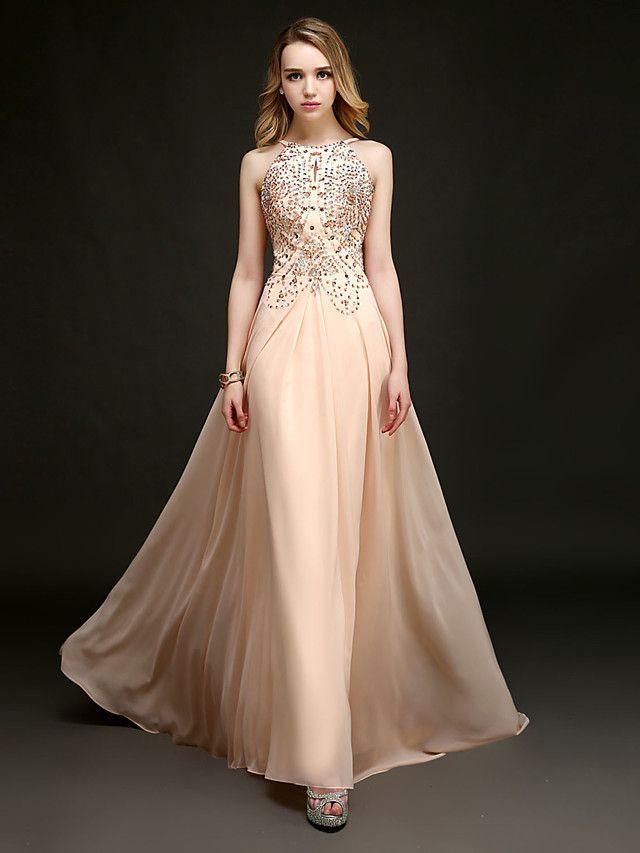 Formal Evening Dress - Pearl Pink Plus Sizes / Petite Sheath/Column Halter Floor-length / Chapel Train - USD $ 119.99