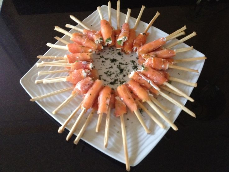 Smoked Salmon Appetizer on a Stick | OMG Lifestyle Blog;  Recipe can be found at http://omglifestyle.com/smoked-salmon-appetizer-on-a-stick/