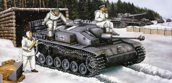 German self-propelled guns StuG III E StuG III painted in winter
