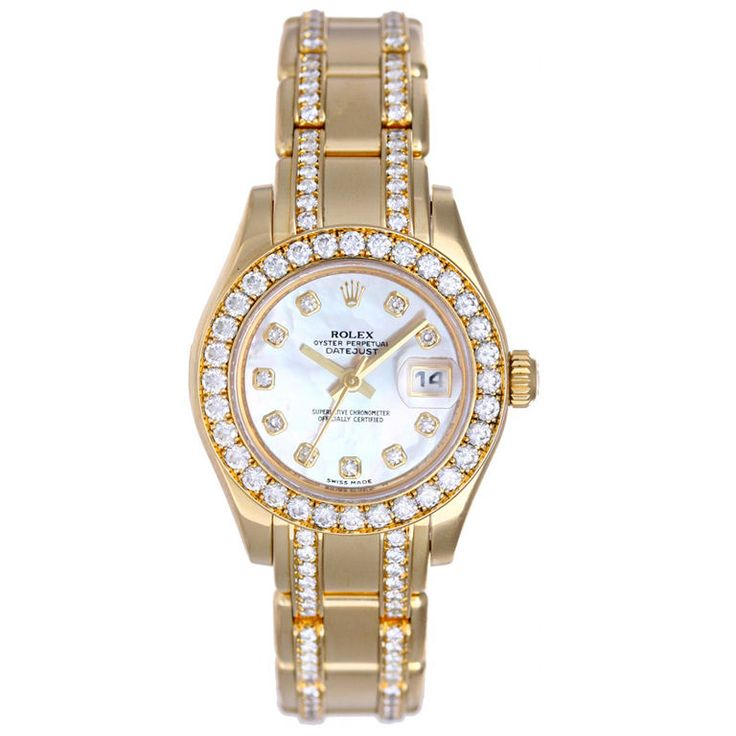 ♛ Rolex Lady Datejust Pearlmaster Gold Diamond Watch ♛