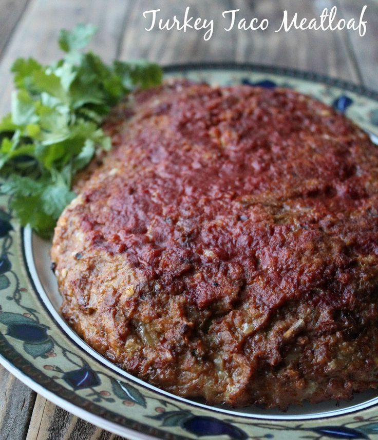 Mexican inspired ground turkey meatloaf. All of the flavor of tacos, wrapped up in a juicy meatloaf!