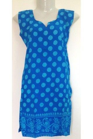 #CottonKurti - Polka Dot Printed #Ocean #Blue
