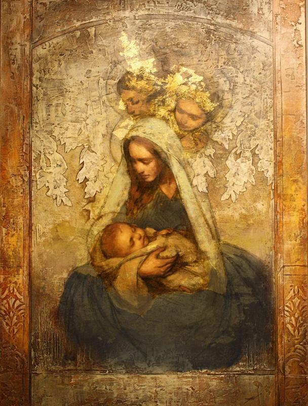 Nossa Senhora adorando ao Menino Jesus dormindo em seus braços. Quadro muito belo!