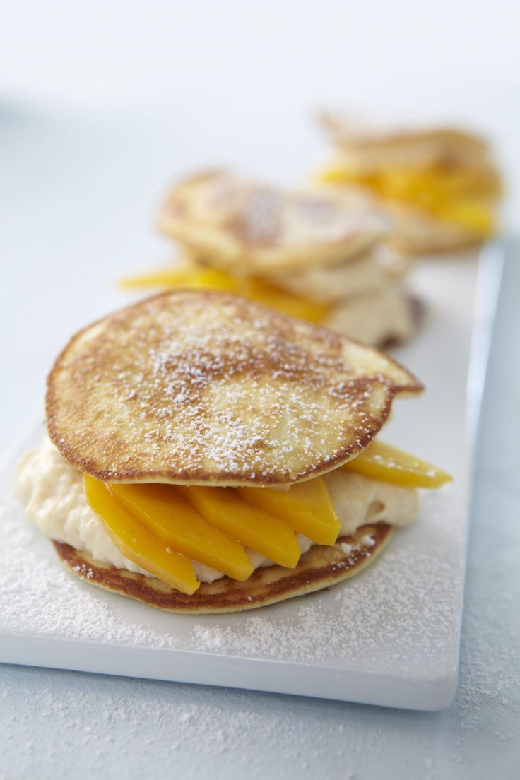 Blini Sandwich with Mango and Cream Cheese  what an absolutely delicious dessert Yummy food for the whole family