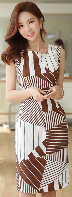 StyleOnme_Geometric Print Belted Linen Dress #chic #koreanfashion #kstyle #kfashion #seoul #summerlook