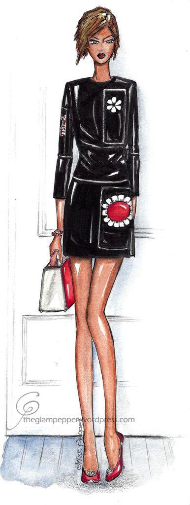Fashion illustration by The Glam Pepper, Prada #fashion #illustration #sketches