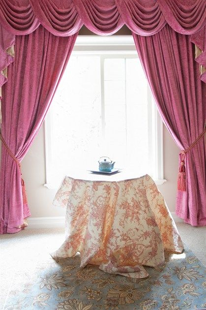 pink chenille swag valance drapes think pink think bold