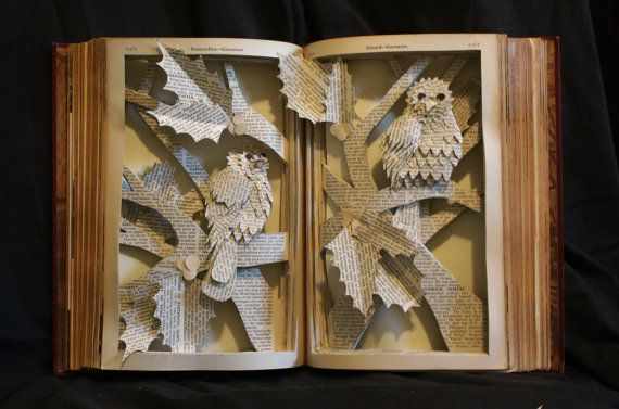 Add some charm to your holiday decor with this book sculpture. This piece was featured in a holiday show in Shanghai, China, in 2014. Now it can