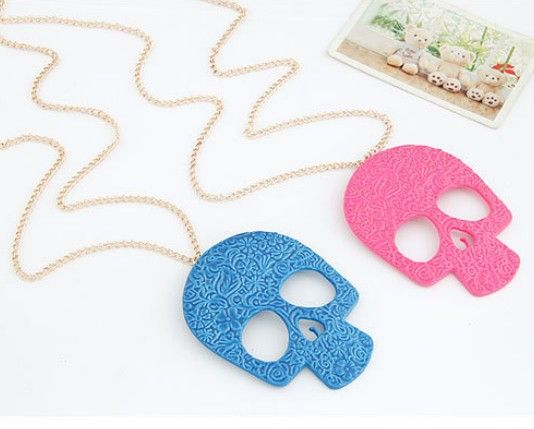 Fashion European Exaggerated Neon Color Punk Pattern Skull Skeleton Long Design Necklaces N1392 $142,36