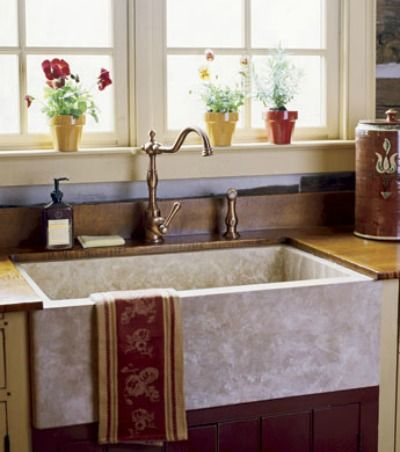French Country Farmhouse Sink With Old World Faucet
