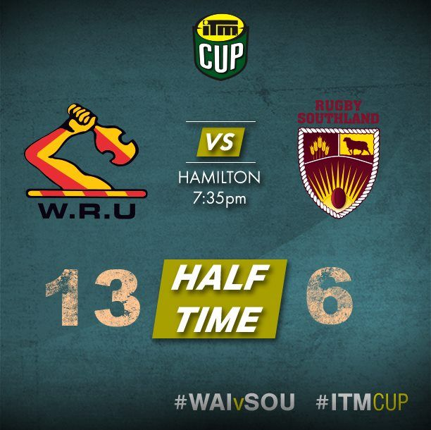 Close contest as Waikato Rugby take a narrow HT lead over Rugby Southland #WAIvSOU.