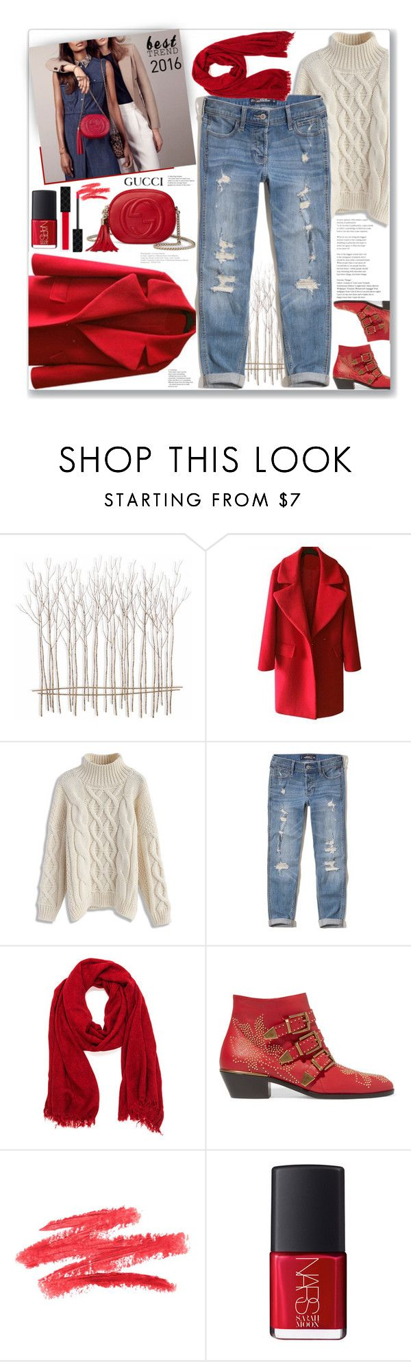 """""""Best Trend of 2016: Denim & Red"""" by firstclass1 ❤ liked on Polyvore featuring Fox, Chicwish, Hollister Co., Chloé, NARS Cosmetics and Gucci"""