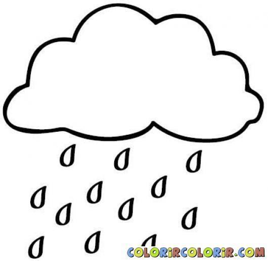 Картинка тучка и дождь раскраска